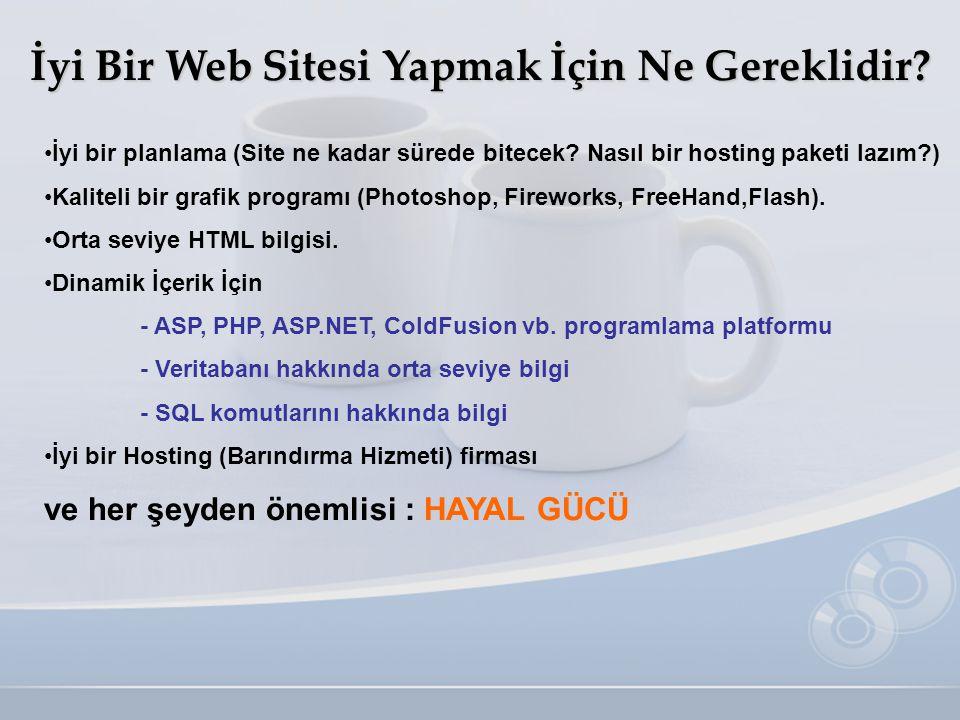 İyi Bir Web Sitesi Yapmak İçin Ne Gereklidir? •İyi bir planlama (Site ne kadar sürede bitecek? Nasıl bir hosting paketi lazım?) •Kaliteli bir grafik p