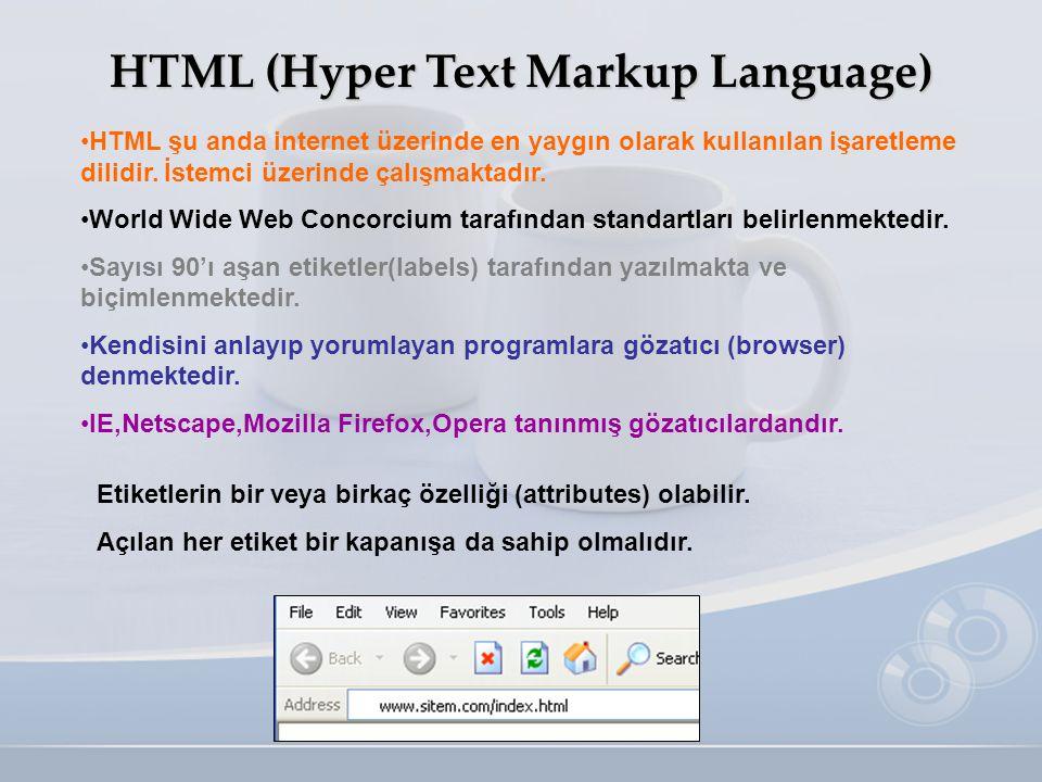 HTML (Hyper Text Markup Language) •HTML şu anda internet üzerinde en yaygın olarak kullanılan işaretleme dilidir. İstemci üzerinde çalışmaktadır. •Wor