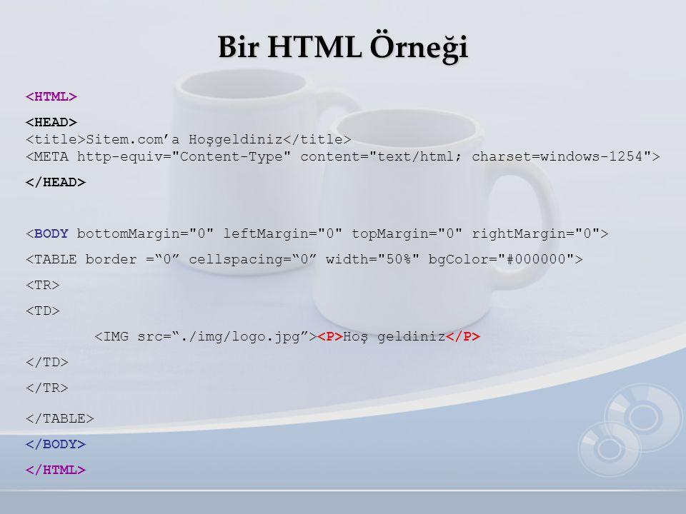 Bir HTML Örneği <HTML> <HEAD> <title>Sitem.com'a Hoşgeldiniz</title> <META http-equiv=