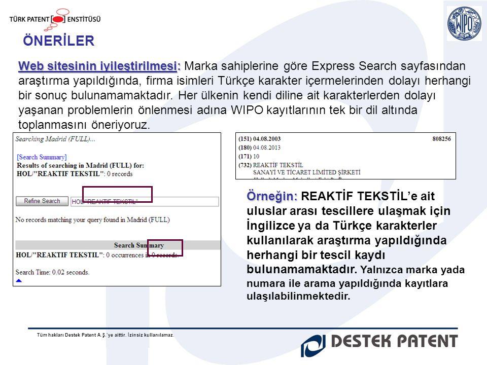Tüm hakları Destek Patent A.Ş.'ye aittir. İzinsiz kullanılamaz. ÖNERİLER Web sitesinin iyileştirilmesi: Web sitesinin iyileştirilmesi: Marka sahipleri