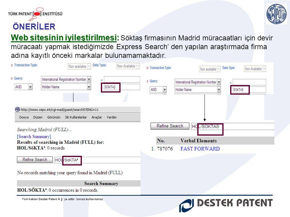 Tüm hakları Destek Patent A.Ş.'ye aittir. İzinsiz kullanılamaz. Web sitesinin iyileştirilmesi: Web sitesinin iyileştirilmesi: Söktaş firmasının Madrid