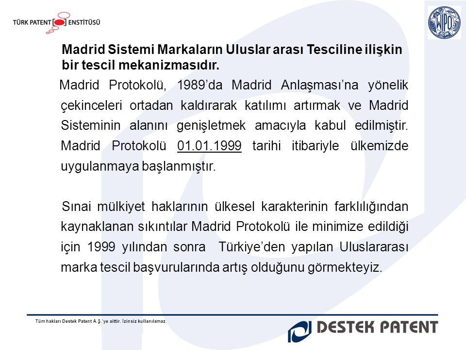 Tüm hakları Destek Patent A.Ş.'ye aittir. İzinsiz kullanılamaz. Madrid Protokolü, 1989'da Madrid Anlaşması'na yönelik çekinceleri ortadan kaldırarak k