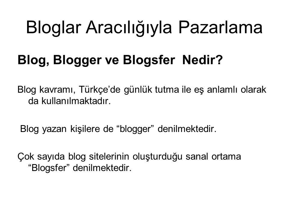Bloglar Aracılığıyla Pazarlama Blog, Blogger ve Blogsfer Nedir? Blog kavramı, Türkçe'de günlük tutma ile eş anlamlı olarak da kullanılmaktadır. Blog y