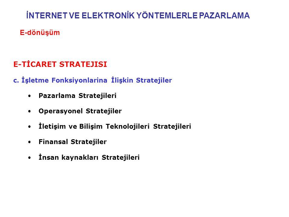 E-TİCARET STRATEJISI c. İşletme Fonksiyonlarina İlişkin Stratejiler •Pazarlama Stratejileri •Operasyonel Stratejiler •İletişim ve Bilişim Teknolojiler