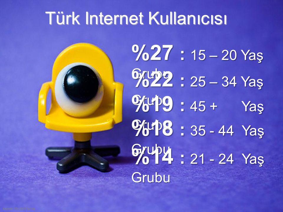 Türk Internet Kullanıcısı Kaynak: TGI 2009 Spring %27 : 15 – 20 Yaş Grubu %22 : 25 – 34 Yaş Grubu %19 : 45 + Yaş Grubu %18 : 35 - 44 Yaş Grubu %14 : 2