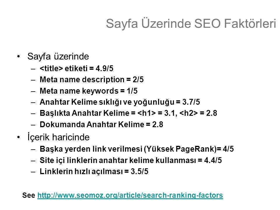 Sayfa Üzerinde SEO Faktörleri •Sayfa üzerinde – etiketi = 4.9/5 –Meta name description = 2/5 –Meta name keywords = 1/5 –Anahtar Kelime sıklığı ve yoğu