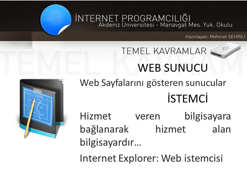 WEB SUNUCU Web Sayfalarını gösteren sunucular İSTEMCİ Hizmet veren bilgisayara bağlanarak hizmet alan bilgisayardır… Internet Explorer: Web istemcisi