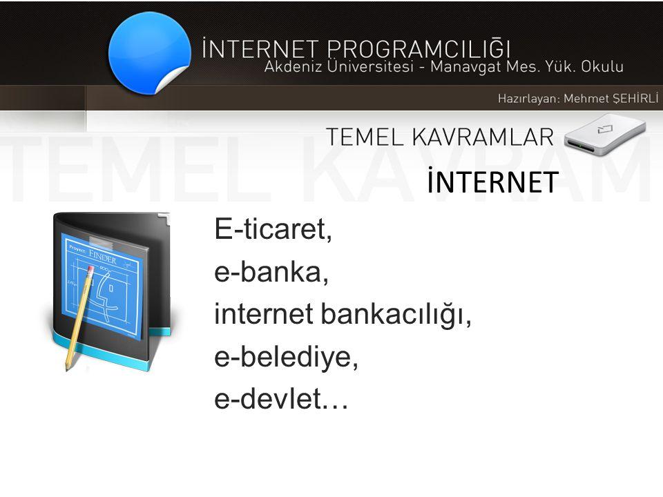 İNTERNET E-ticaret, e-banka, internet bankacılığı, e-belediye, e-devlet…