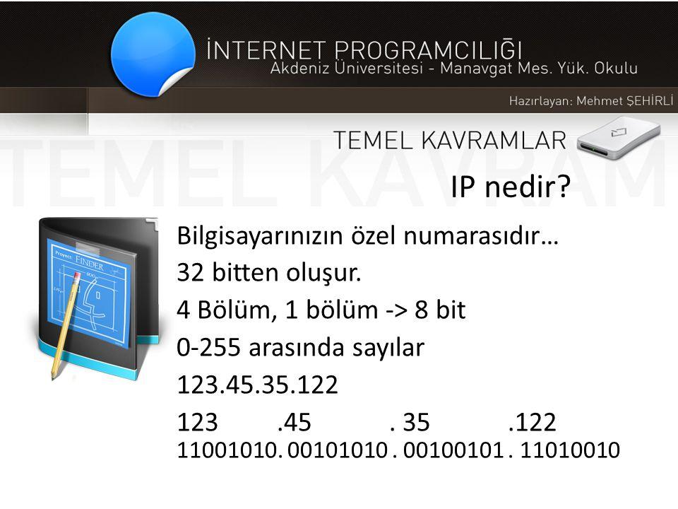 IP nedir? Bilgisayarınızın özel numarasıdır… 32 bitten oluşur. 4 Bölüm, 1 bölüm -> 8 bit 0-255 arasında sayılar 123.45.35.122 123.45. 35.122 11001010.