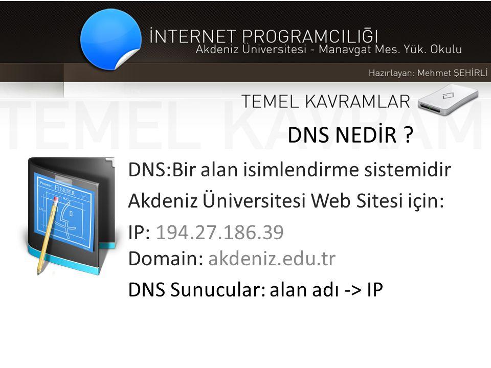 DNS NEDİR ? DNS:Bir alan isimlendirme sistemidir Akdeniz Üniversitesi Web Sitesi için: IP: 194.27.186.39 Domain: akdeniz.edu.tr DNS Sunucular: alan ad