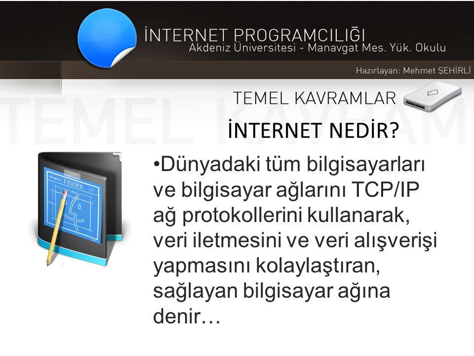 İNTERNET NEDİR? •Dünyadaki tüm bilgisayarları ve bilgisayar ağlarını TCP/IP ağ protokollerini kullanarak, veri iletmesini ve veri alışverişi yapmasını