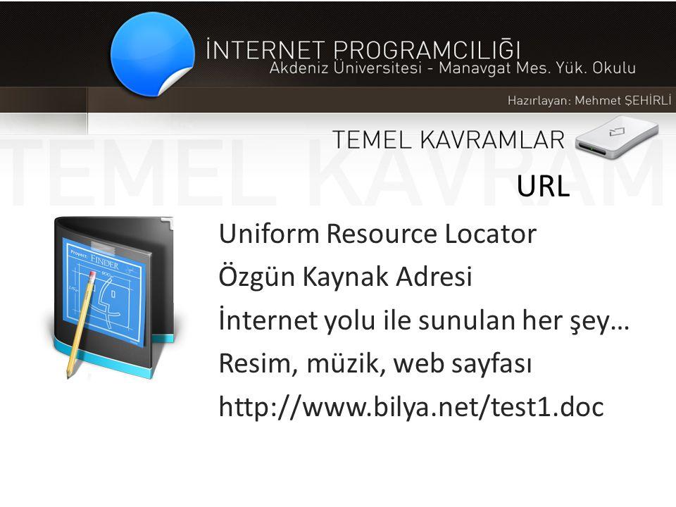 URL Uniform Resource Locator Özgün Kaynak Adresi İnternet yolu ile sunulan her şey… Resim, müzik, web sayfası http://www.bilya.net/test1.doc
