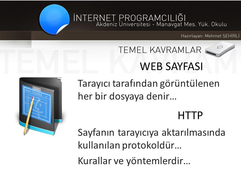 WEB SAYFASI Tarayıcı tarafından görüntülenen her bir dosyaya denir… HTTP Sayfanın tarayıcıya aktarılmasında kullanılan protokoldür… Kurallar ve yöntem