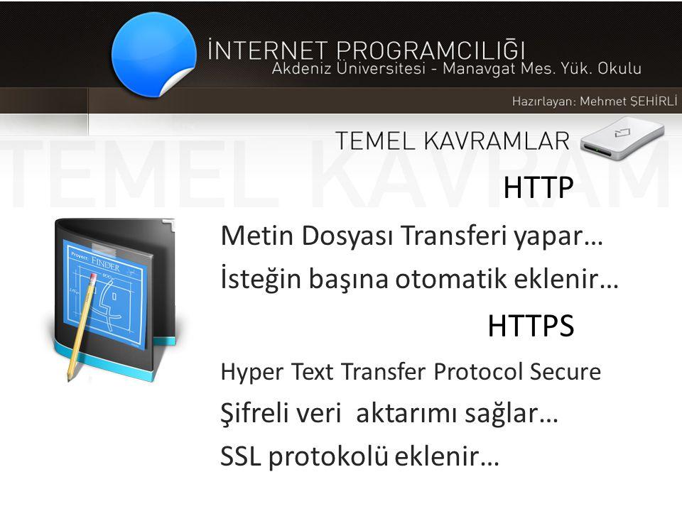 HTTP Metin Dosyası Transferi yapar… İsteğin başına otomatik eklenir… HTTPS Hyper Text Transfer Protocol Secure Şifreli veri aktarımı sağlar… SSL proto