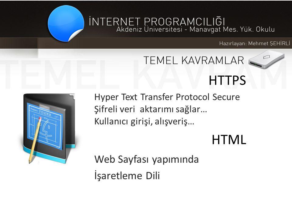 HTTPS HTML Web Sayfası yapımında İşaretleme Dili Hyper Text Transfer Protocol Secure Şifreli veri aktarımı sağlar… Kullanıcı girişi, alışveriş…