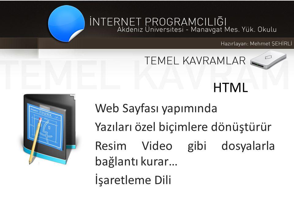HTML Web Sayfası yapımında Yazıları özel biçimlere dönüştürür Resim Video gibi dosyalarla bağlantı kurar… İşaretleme Dili