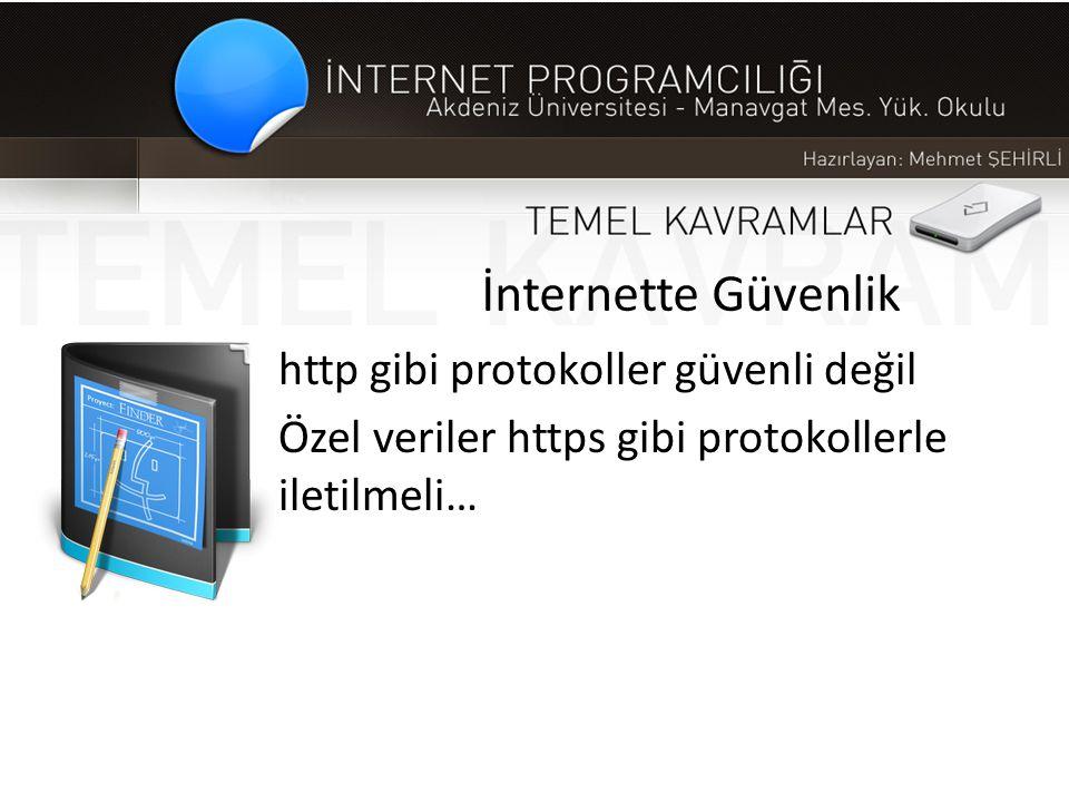 İnternette Güvenlik http gibi protokoller güvenli değil Özel veriler https gibi protokollerle iletilmeli…