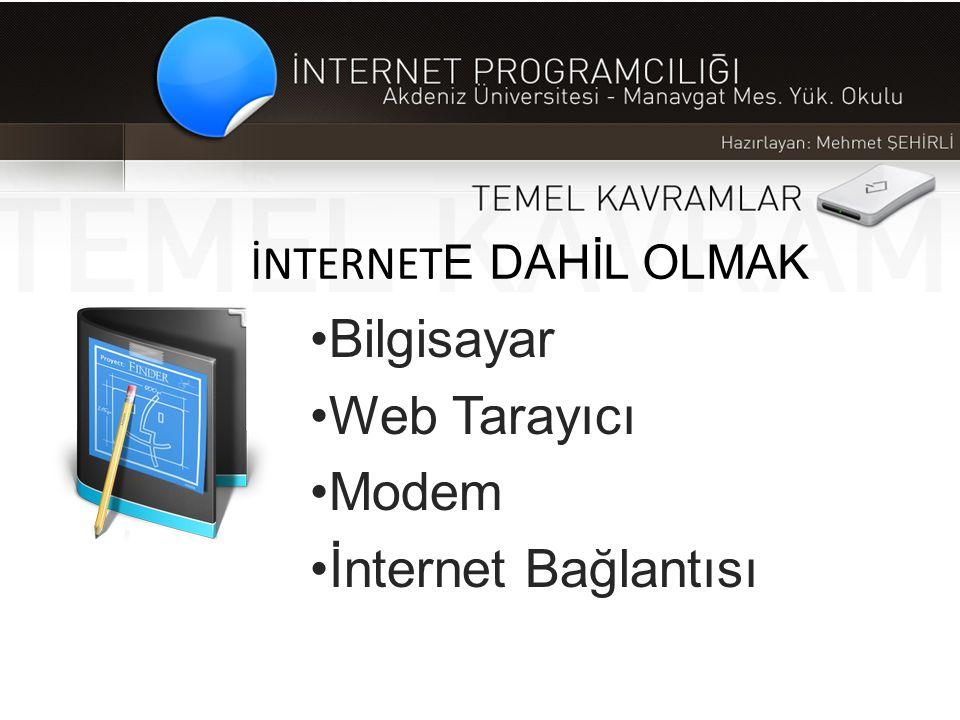 İNTERNET E DAHİL OLMAK •Bilgisayar •Web Tarayıcı •Modem •İnternet Bağlantısı