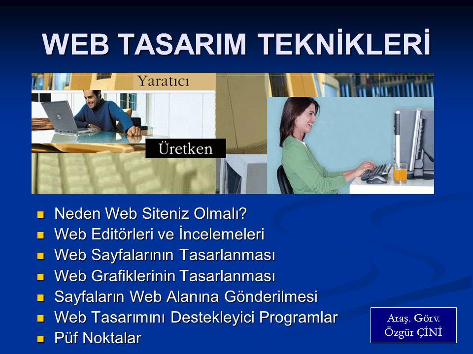 WEB TASARIM TEKNİKLERİ  Neden Web Siteniz Olmalı.