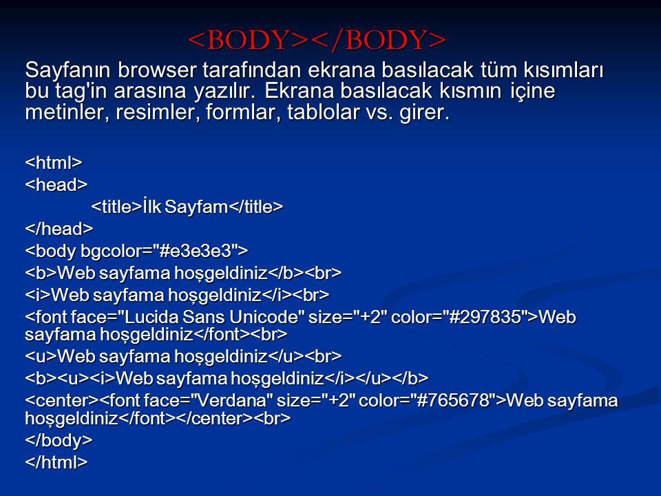 Sayfanın browser tarafından ekrana basılacak tüm kısımları bu tag in arasına yazılır.