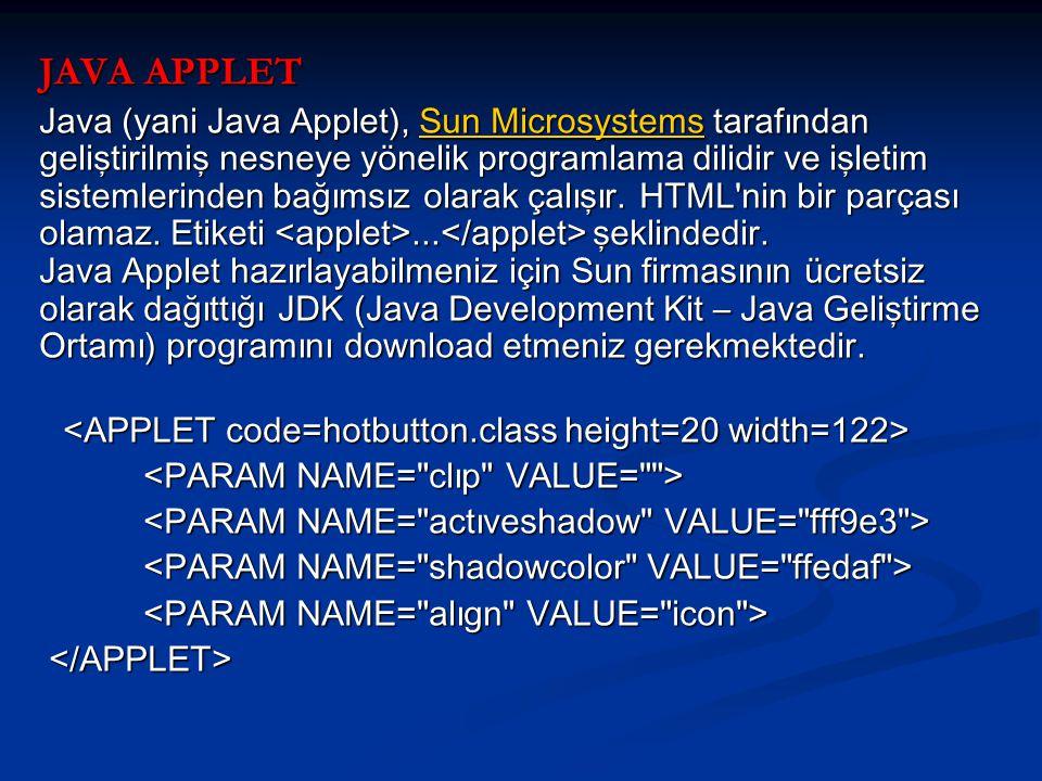 JAVA APPLET Java (yani Java Applet), Sun Microsystems tarafından geliştirilmiş nesneye yönelik programlama dilidir ve işletim sistemlerinden bağımsız olarak çalışır.