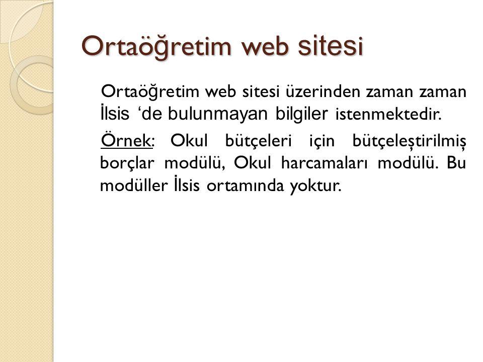 Ortaö ğ retim web sites i Ortaö ğ retim web sitesi üzerinden zaman zaman İlsis 'de bulunmayan bilgiler istenmektedir. Örnek: Okul bütçeleri için bütçe
