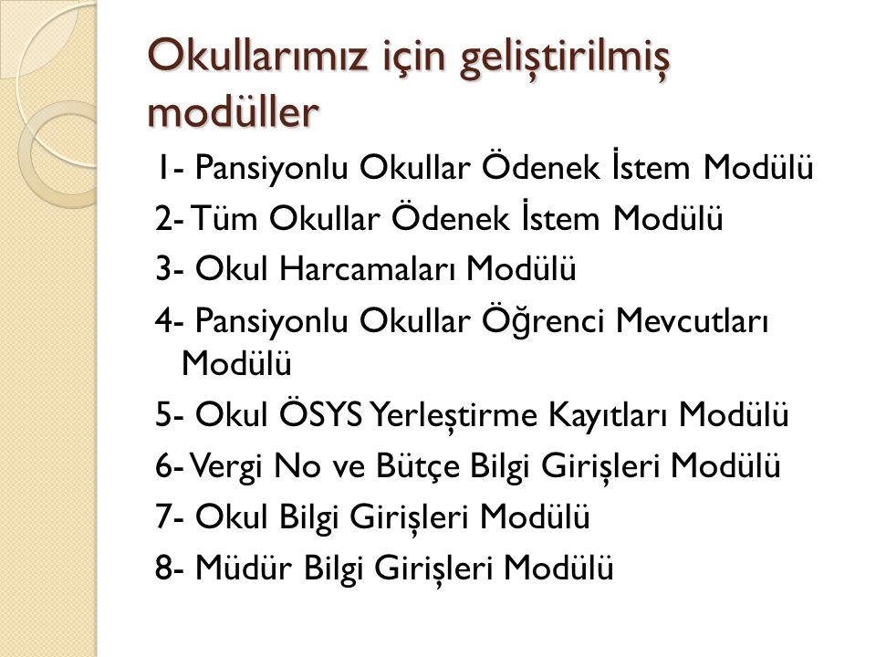 Okullarımız için geliştirilmiş modüller 1- Pansiyonlu Okullar Ödenek İ stem Modülü 2- Tüm Okullar Ödenek İ stem Modülü 3- Okul Harcamaları Modülü 4- P