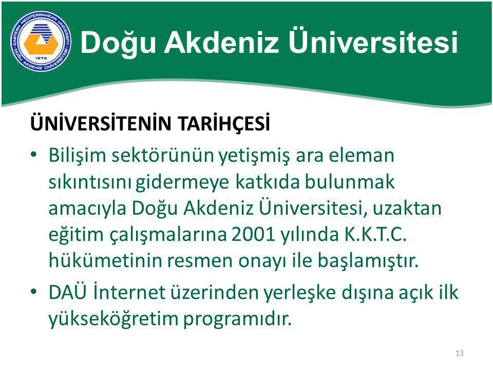 13 Doğu Akdeniz Üniversitesi ÜNİVERSİTENİN TARİHÇESİ • Bilişim sektörünün yetişmiş ara eleman sıkıntısını gidermeye katkıda bulunmak amacıyla Doğu Akd