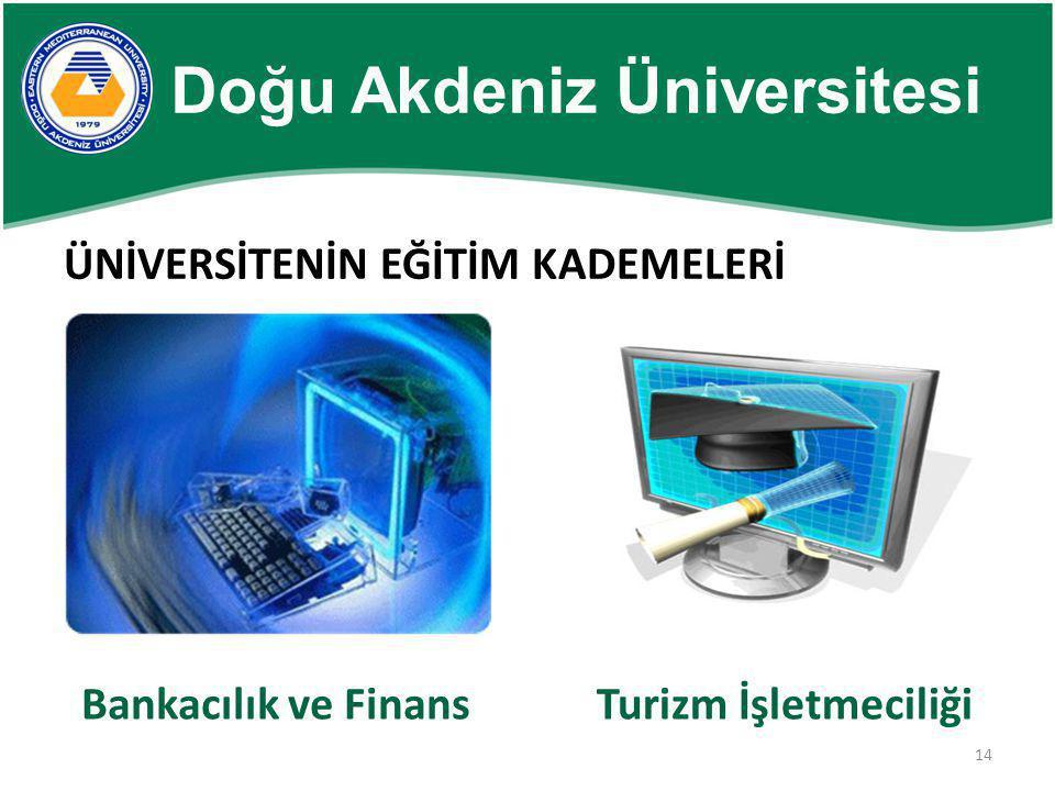 14 ÜNİVERSİTENİN EĞİTİM KADEMELERİ Bankacılık ve FinansTurizm İşletmeciliği Doğu Akdeniz Üniversitesi