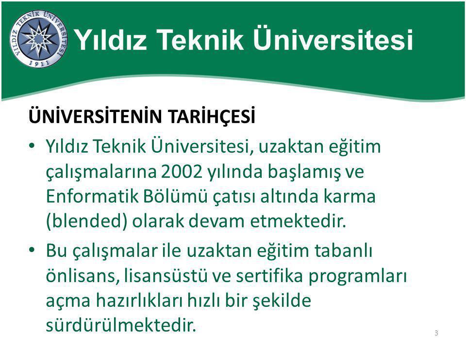 3 Yıldız Teknik Üniversitesi ÜNİVERSİTENİN TARİHÇESİ • Yıldız Teknik Üniversitesi, uzaktan eğitim çalışmalarına 2002 yılında başlamış ve Enformatik Bö