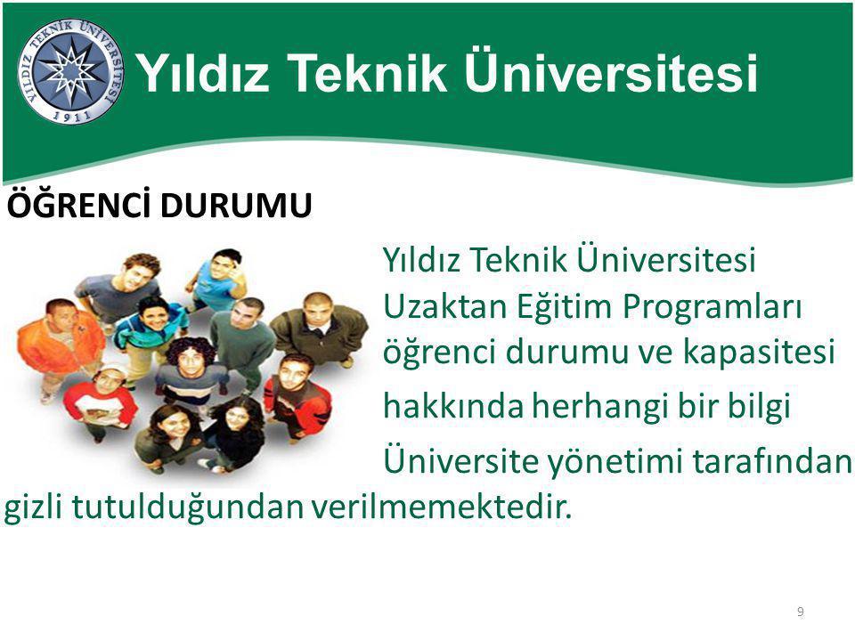 9 Yıldız Teknik Üniversitesi ÖĞRENCİ DURUMU Yıldız Teknik Üniversitesi Uzaktan Eğitim Programları öğrenci durumu ve kapasitesi hakkında herhangi bir b