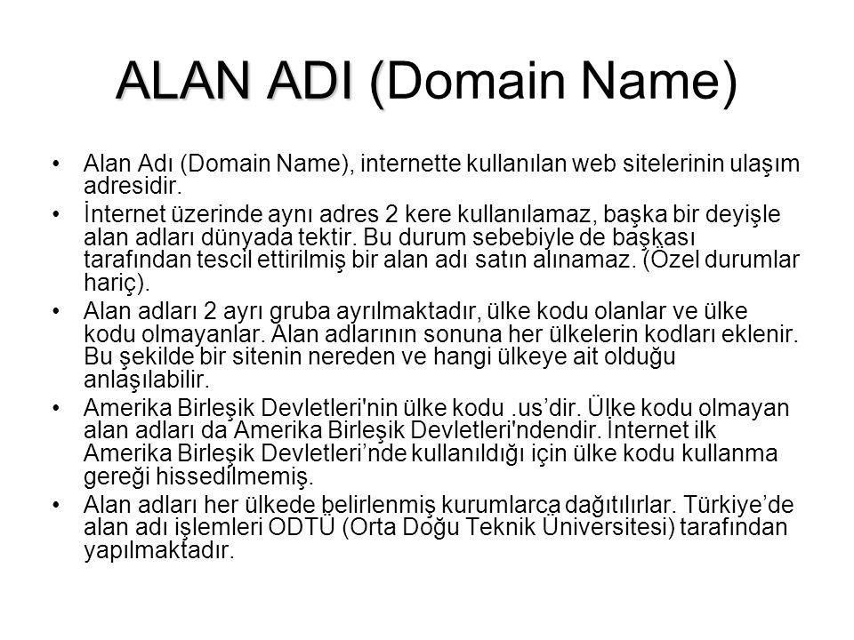 ALAN ADI ( ALAN ADI (Domain Name) •Alan Adı (Domain Name), internette kullanılan web sitelerinin ulaşım adresidir.