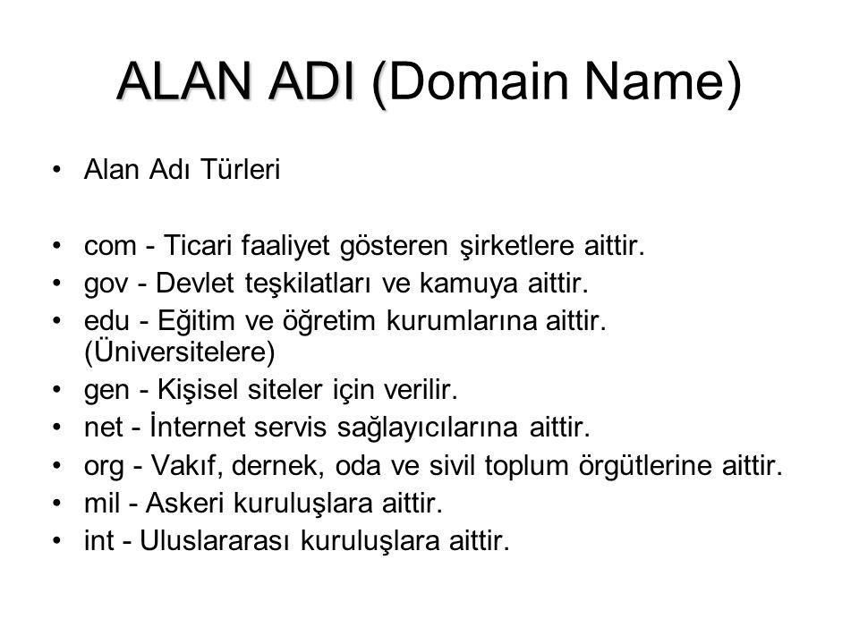 ALAN ADI ( ALAN ADI (Domain Name) •Alan Adı Türleri •com - Ticari faaliyet gösteren şirketlere aittir.