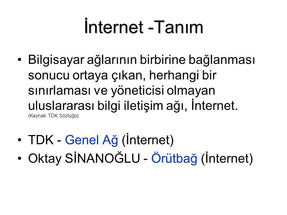 İnternet -Tanım •Bilgisayar ağlarının birbirine bağlanması sonucu ortaya çıkan, herhangi bir sınırlaması ve yöneticisi olmayan uluslararası bilgi iletişim ağı, İnternet.