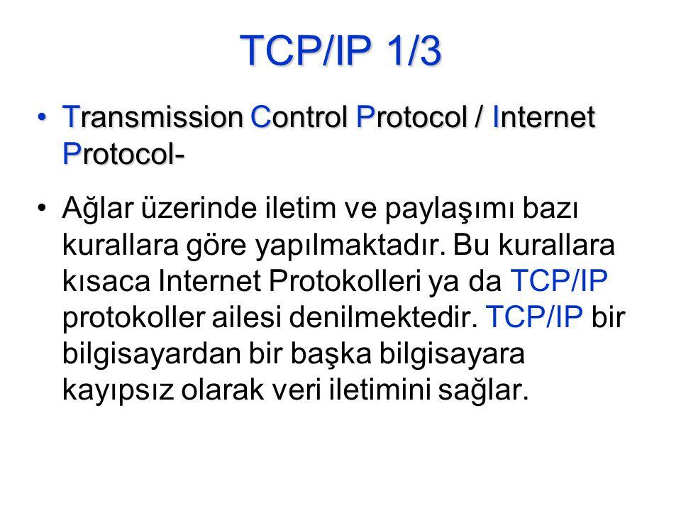 TCP/IP 1/3 •Transmission Control Protocol / Internet Protocol- •Ağlar üzerinde iletim ve paylaşımı bazı kurallara göre yapılmaktadır.
