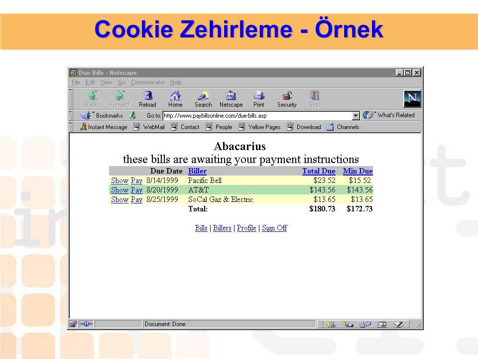 Cookie Zehirleme - Örnek