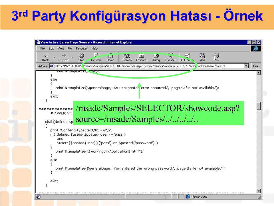 3 rd Party Konfigürasyon Hataları  Zayıflığın Açıklaması: Yanlış konfigüre edilmiş bir 3rd party yazılım, gereksiz birçok bilginin dışarıdan alınması