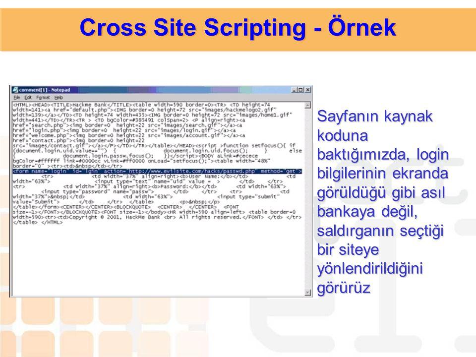 Kullanıcının (ve bankanın) haberdar olmadığı bu linkin içinde bir javascript vardır. Kullanıcı linke tıkladığında bu script ile birlikte bankanın logi