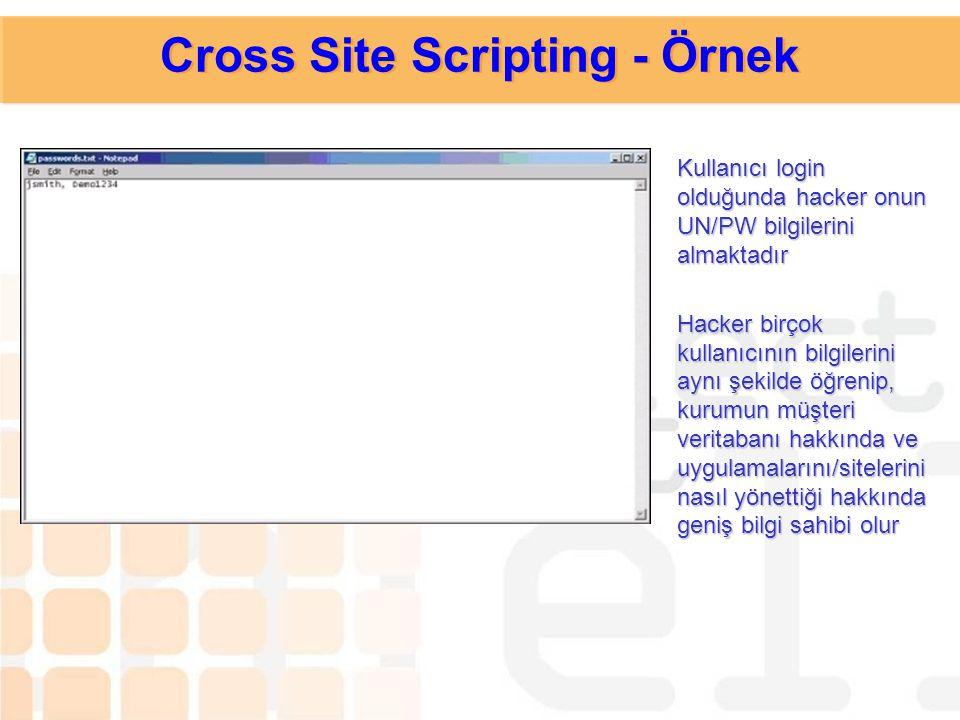 Olaydan haberdar olmayan kullanıcı UN/PW bilgisini submit ettiğinde aslında bu bilgilerin hacker'a gittiğini bilmemektedir Cross Site Scripting - Örne