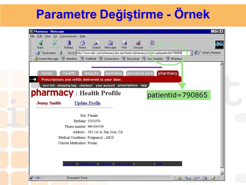  Zayıflığın Açıklaması: Parametreler istemciden bilgi almak için kullanılan araçlarıdır. Bu bilgi sitenin URL parametresi içinde değiştirilebilir. 