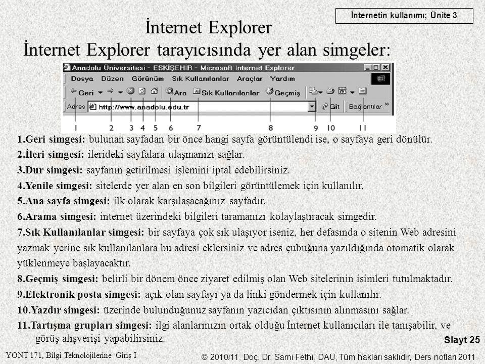YONT 171, Bilgi Teknolojilerine Giriş I © 2010/11, Doç. Dr. Sami Fethi, DAÜ, Tüm hakları saklıdır, Ders notları 2011 İnternetin kullanımı; Ünite 3 Sla