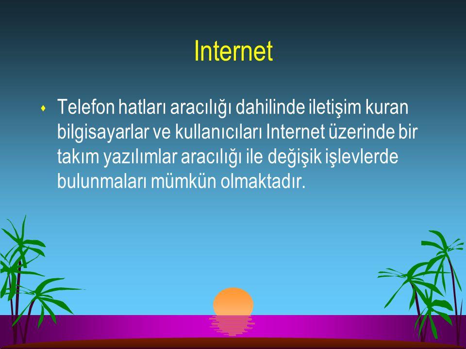 Internet s Telefon hatları aracılığı dahilinde iletişim kuran bilgisayarlar ve kullanıcıları Internet üzerinde bir takım yazılımlar aracılığı ile deği