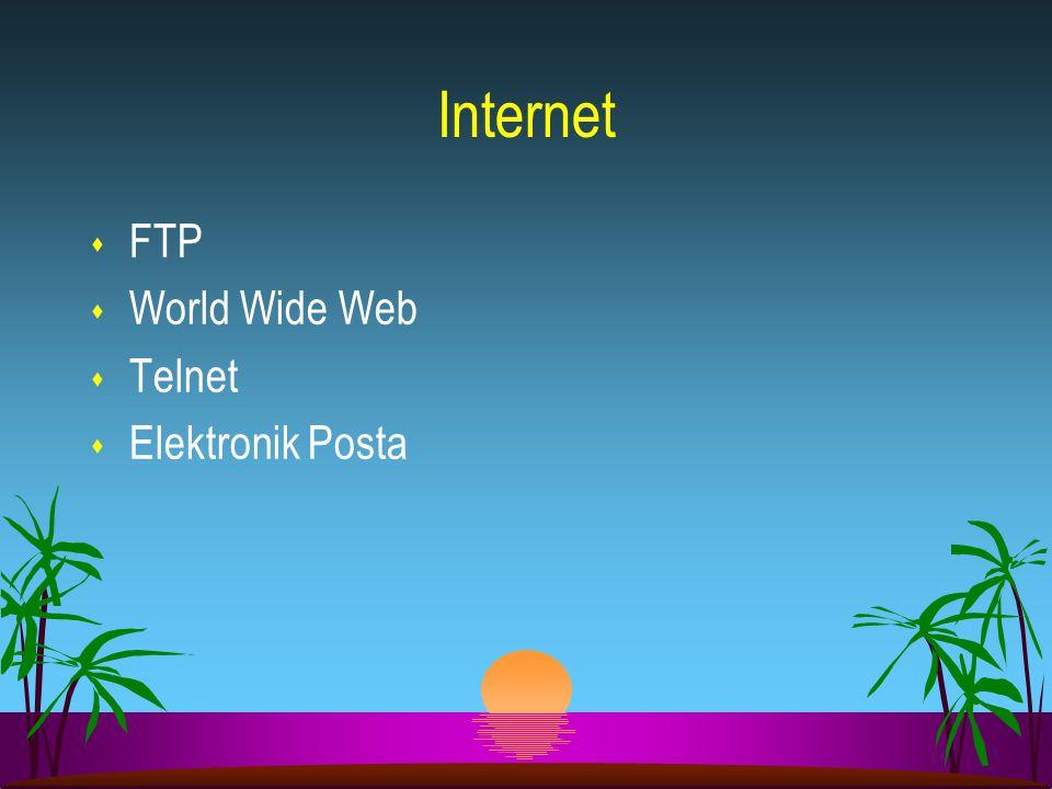 s FTP s World Wide Web s Telnet s Elektronik Posta