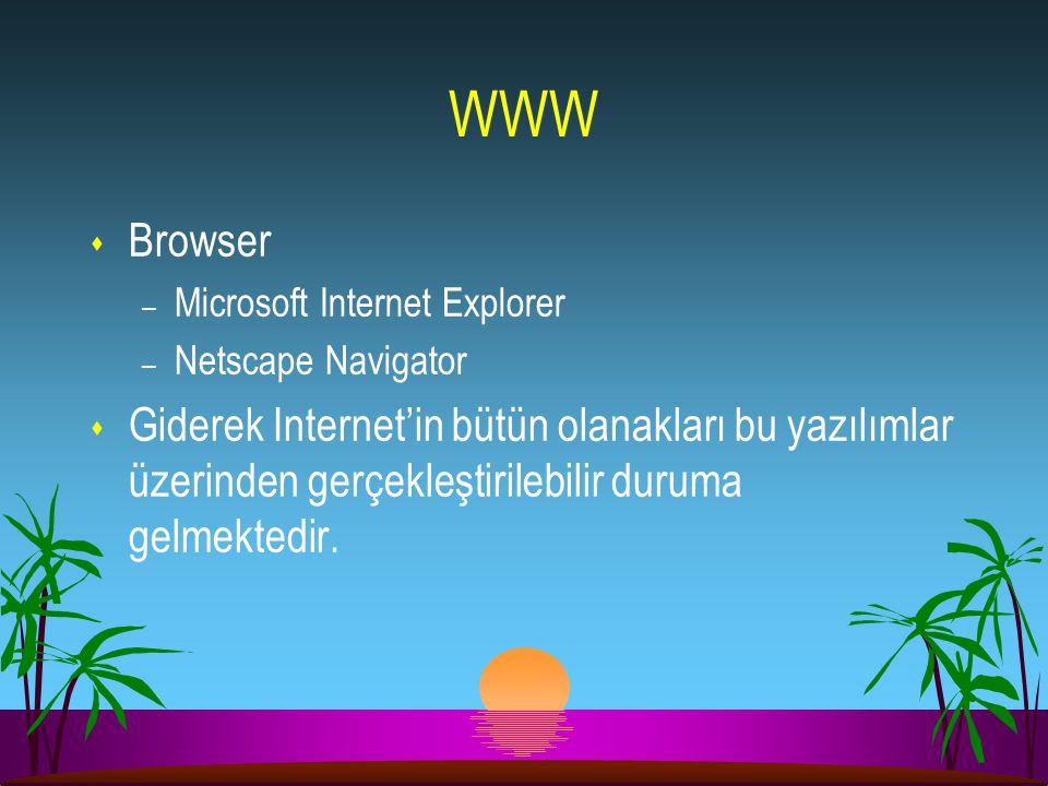 WWW s Browser – Microsoft Internet Explorer – Netscape Navigator s Giderek Internet'in bütün olanakları bu yazılımlar üzerinden gerçekleştirilebilir d