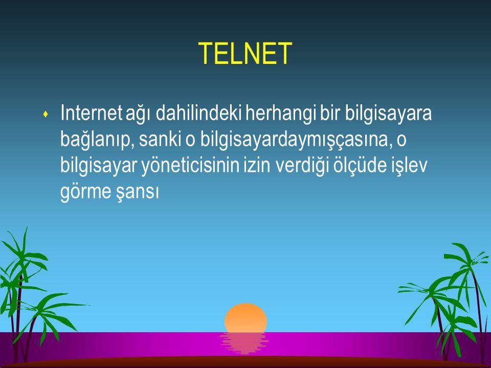 TELNET s Internet ağı dahilindeki herhangi bir bilgisayara bağlanıp, sanki o bilgisayardaymışçasına, o bilgisayar yöneticisinin izin verdiği ölçüde iş