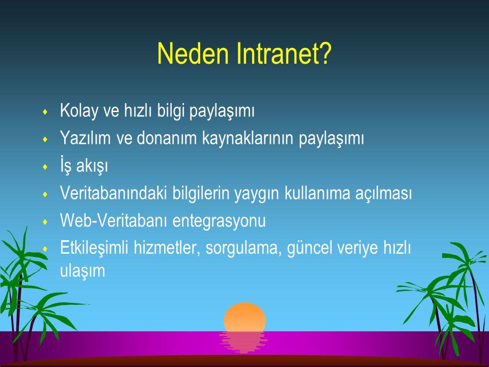 Neden Intranet? s Kolay ve hızlı bilgi paylaşımı s Yazılım ve donanım kaynaklarının paylaşımı s İş akışı s Veritabanındaki bilgilerin yaygın kullanıma