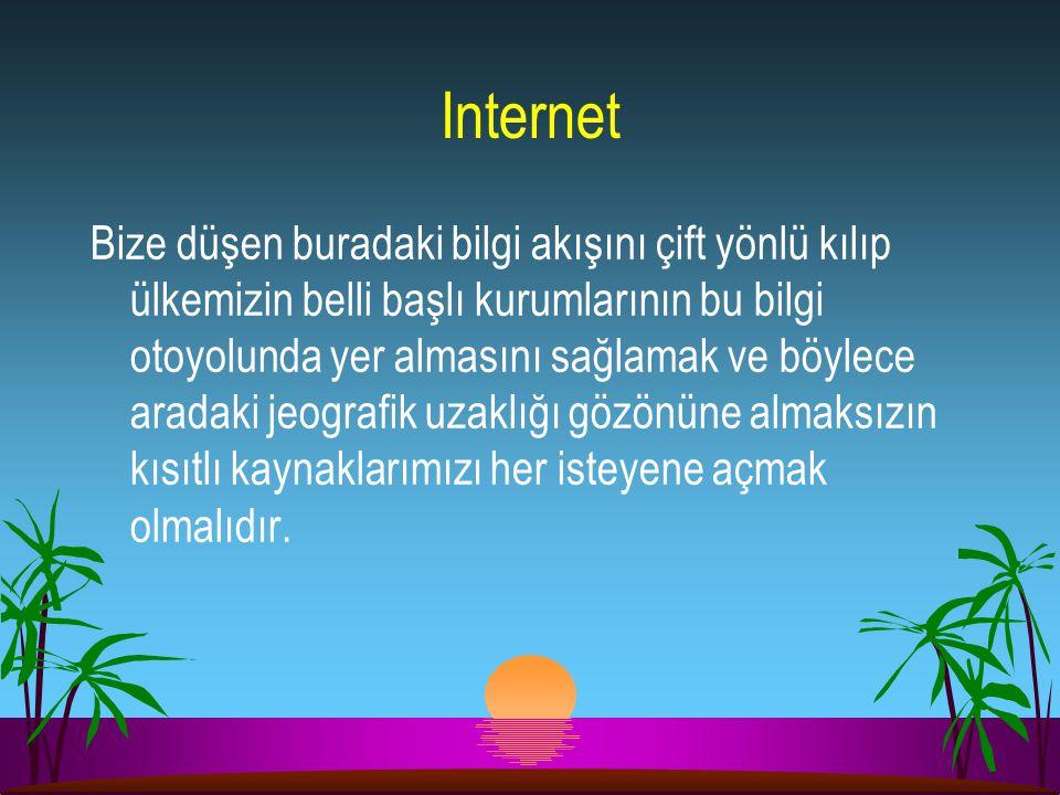 Internet Bize düşen buradaki bilgi akışını çift yönlü kılıp ülkemizin belli başlı kurumlarının bu bilgi otoyolunda yer almasını sağlamak ve böylece ar