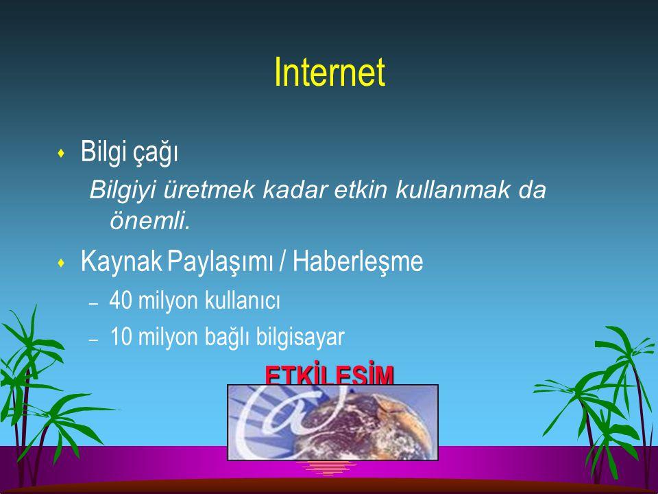 Internet s Bilgi çağı Bilgiyi üretmek kadar etkin kullanmak da önemli. s Kaynak Paylaşımı / Haberleşme – 40 milyon kullanıcı – 10 milyon bağlı bilgisa