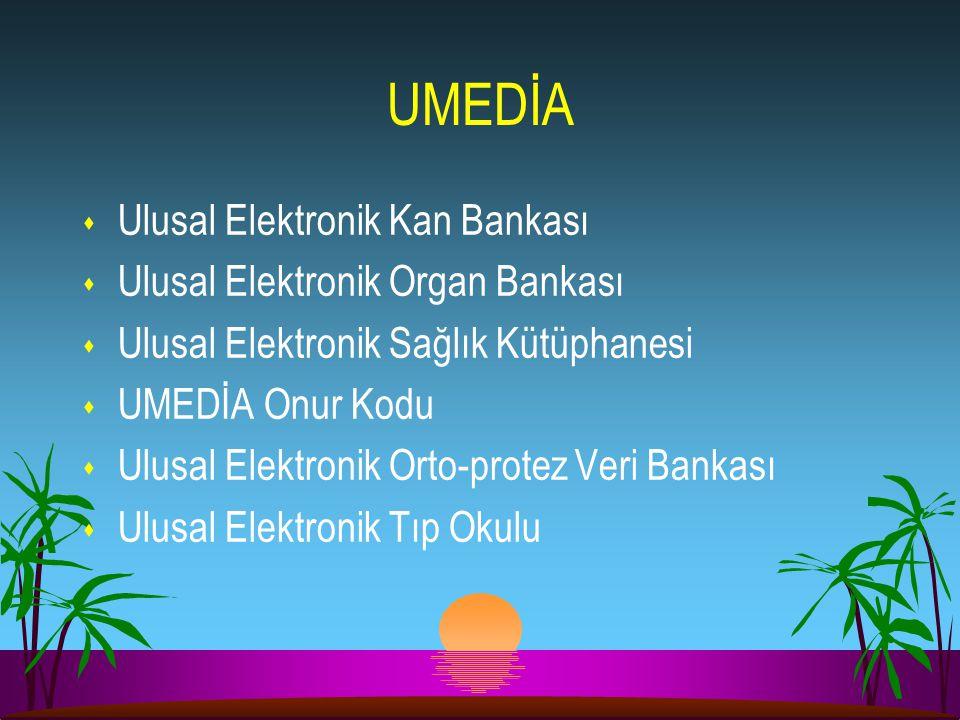UMEDİA s Ulusal Elektronik Kan Bankası s Ulusal Elektronik Organ Bankası s Ulusal Elektronik Sağlık Kütüphanesi s UMEDİA Onur Kodu s Ulusal Elektronik