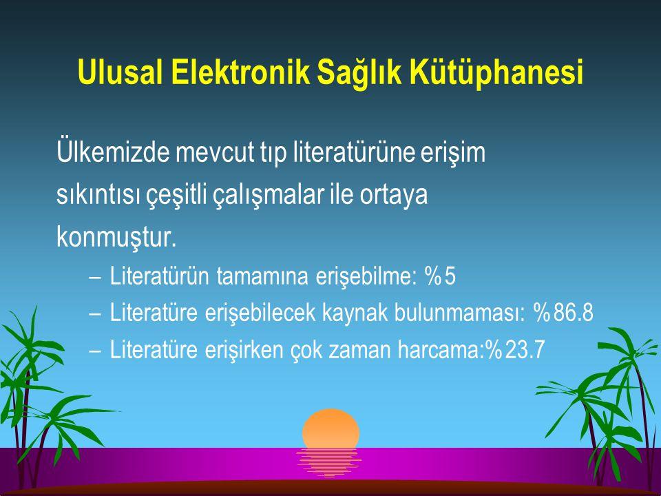 Ulusal Elektronik Sağlık Kütüphanesi Ülkemizde mevcut tıp literatürüne erişim sıkıntısı çeşitli çalışmalar ile ortaya konmuştur. –Literatürün tamamına
